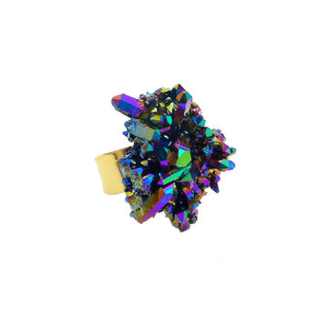 Titanium Rainbow Aura Crystal Ring