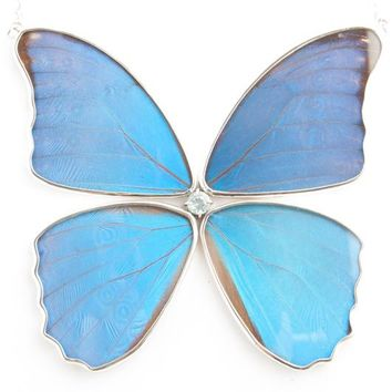 Silver butterfly necklace with blue topaz birthstone - Iridescent Blue Wing Shaped Morpho Didius