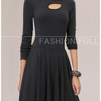 Black Long Sleeved Dress - Fit and Flare Style / Bust Line Cutout Detail
