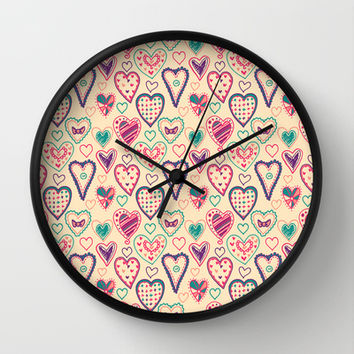 Girly Heart Doodle Wall Clock by Perrin Le Feuvre | Society6