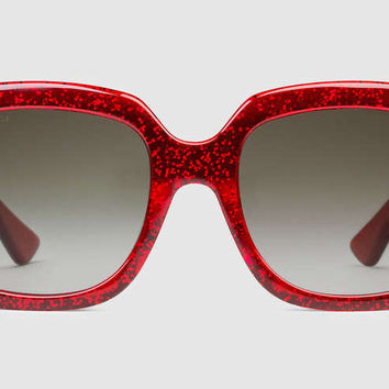 Gucci - GG0036S Glitter Red Sunglasses, Brown Lenses