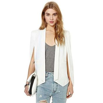 DCCKHY9 Fashion Women Lapel Split Long Sleeve Pockets jacket Casual Blazer Cape Suit Workwear Y20