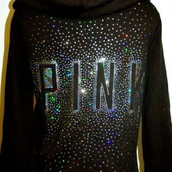 Victoria's Secret LOVE PINK Heavy Sequins Bling Sweatshirt Hoodie Full Zip NWT Black Small