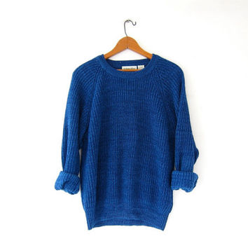 vintage speckled sweater. chunky knit sweater. loose knit sweater. basic blue sweater.