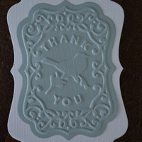 Embossed gift tags text Thank you, set of 6 made from white thin card stock and textured card stock -- Wedding cards, Wedding favor or label