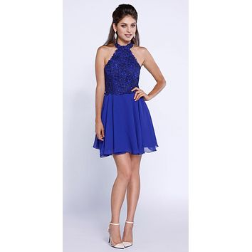 Royal Blue Lace Applique Close Neck Halter Homecoming Dress Short