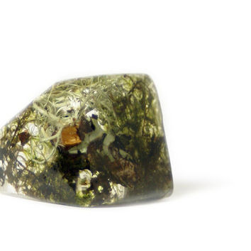 Moss Jewelry- Unique Gifts- Moss Ring-Flower Resin Ring-Resin Jewelry-Real Flower Jewelry- Flower Ring Jewelry-Resin Jewelry