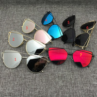 Women Cat Eye Aviator Sunglasses Mirror Sunglasses