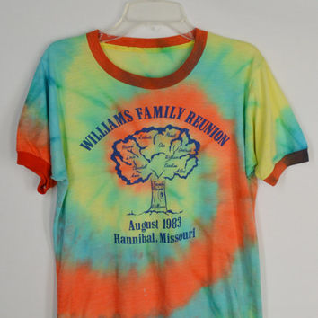 80s Shirt Tie Dye Family Tree Small Hipster Soft Grunge 1980s Family Reunion Shirt Mens XS Womens Small Medium Vintage Clothing