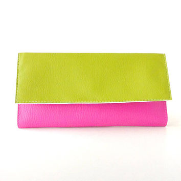 Green and pink wallet organizer, long wallet clutch, vegan wallet for her, card holder wallet case, wallet purse, slim leather wallet zipper