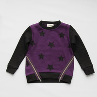 Vierra Rose Kayla Zipper Sweatshirts in Grape Star - T1029