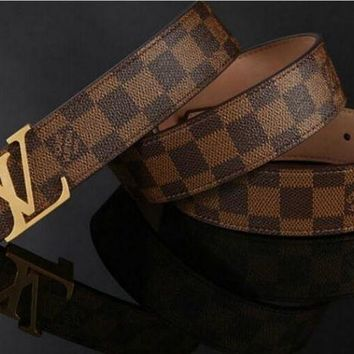 LV Louis Vuitton Fashion Classic Women Men Leather Belt I