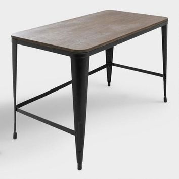 Espresso Wood and Black Metal Arwen Desk