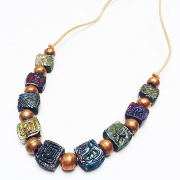 Raku necklace, Raku jewelry, pottery necklace, colorful jewelry, beaded necklace, boho jewelry, rustic necklace, copper jewelry