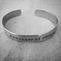 Daughter of Athena: Hand Stamped Aluminum Annabeth Chase-Percy Jackson Cuff