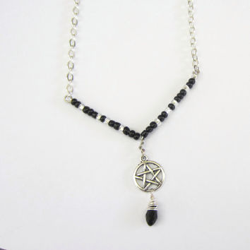 Pentacle Pentagram Necklace Silver and Black Wicca Jewelry with Wrapped Teardrop bead