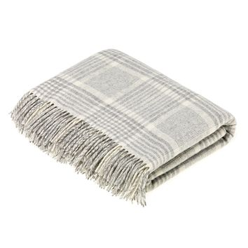 Merino Lambswool Prince of Wales Check Grey Throw Blanket
