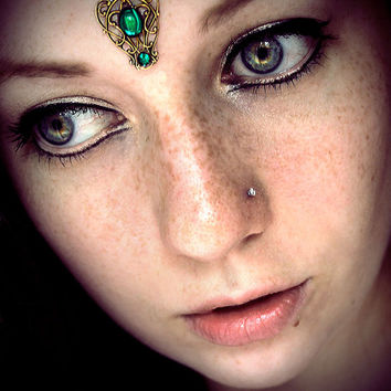 Elf Queen Bindi, tribal fusion, bellydance, fantasy jewelry, forehead jewelry, fairy costume, wicca, pagan, third eye, art nouveau, gypsy