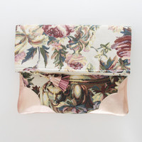 DAHLIA 6  / Floral tapestry & Natural leather folded clutch - Ready to Ship