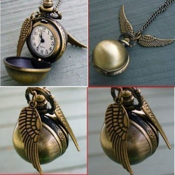 Newest Harry Potter Snitch Watch Pendant Necklace Steampunk Quidditch Wings Clock Gift for kids Cosplay Creative gifts
