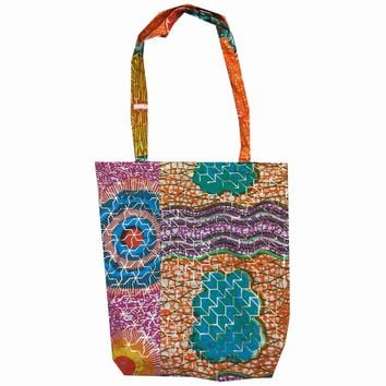 Turquoise and Gold African Print Tote Bag