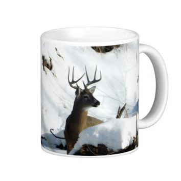 Winter Whitetail Buck Antlers Mug