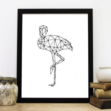 Flamingo Metal Art, Geometric Flamingo, Printable Flamingos, Digital Prints, Geometric Animals, Printable Decor, Instant Download *3*