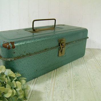 Handy Heavy Duty Blue Green Enamel Metal Two Level Tool Chest - Vintage Turquoise Blue Tackle Box - Artisan Tools Tote - Well Used Condition