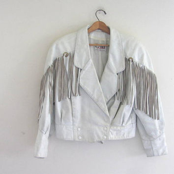 Vintage 80s white leather fringed biker coat // motorcycle jacket