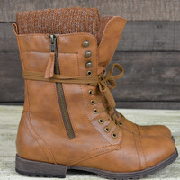 Ozark Lodge Tan Sweater Ankle Boots