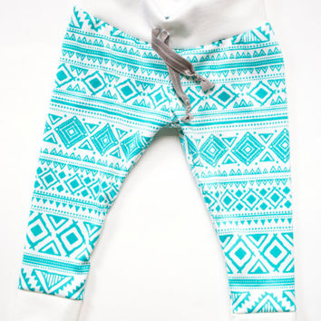 Turquoise Aztec/Tribal Baby Leggings with Drawstring. Toddler Leggings. Trendy Baby Leggings
