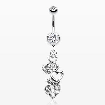 Sparkling Heart Cluster Belly Ring