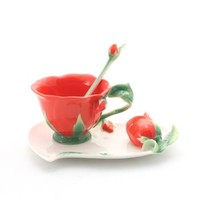Cup/Saucer/Spoon Set - Red Rose Design (981035) - Product Information Lookup - Tea Centre