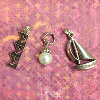 Sorority Greek Sigma Sigma Sigma Essential Trio of Charms - lavaliere, sailboat mascot, pearl dangle