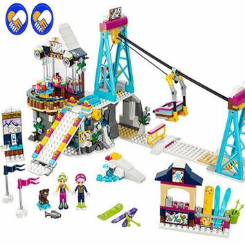 A Toy A Dream LEPIN 01042 Friend Snow Resort Ski Lift Gift Club Ski Vacation Skiing Figure Building Blocks Bricks Toys For Girls