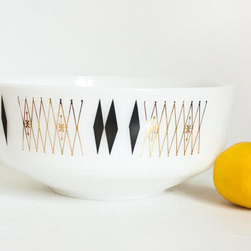 Vintage Federal Black Diamond LARGE Serving Bowl, Salad Fruit Bowl, Harlequin Gold Atomic Pattern