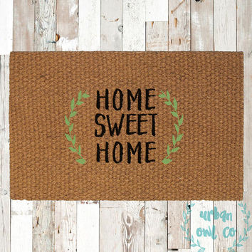 Home Sweet Home Coir Doormat, Decorative Area Rug, Hand Painted Hand Woven, Housewarming Gift