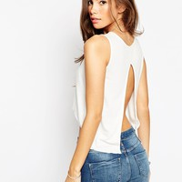 ASOS PETITE High Low Top With Split Open Back