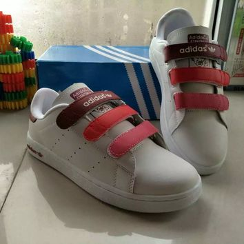 adidas stan smith women sport casual multicolor plate shoes sneakers velcro small white shoes