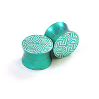 "Maze of Life Green Stainless Steel Double Flared Plugs - 2g 0g 00g (10mm) 7/16"" (11 mm) 1/2"" (13mm) 9/16"" (14mm) 5/8"" (16mm) Metal Gauges"