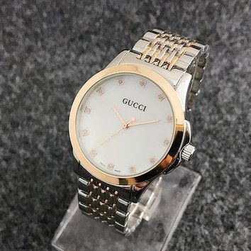 ONETOW GUCCI steel strap around the diamond men and women watches F-Fushida-8899  Silver + rose gold - rose gold case