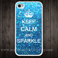 iphone 4 case, iPhone 4s Case, Keep Calm and sparkle Painting white hard case for iphone 4, iphone case 4s,