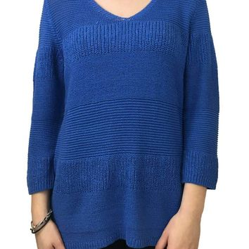 Tribal Yarn Knit Sweater Ultra Blue