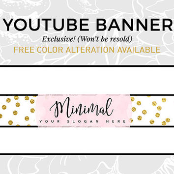 Pastel Lavender Youtube Banner | Blog Graphics | Social Media Branding | Gold Glitter Logo | Youtube Cover | Script Font Header | MINIMAL