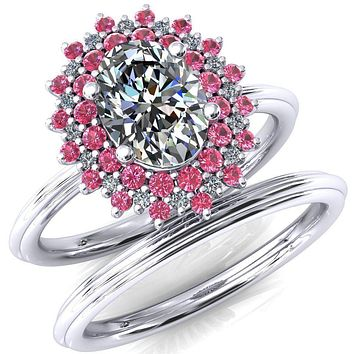 Eridanus Oval Moissanite Cluster Diamond and Pink Sapphire Halo Wedding Ring ver.3