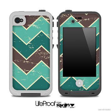 Vintage Green V4 Chevron Pattern Skin for the iPhone 5 or 4/4s LifeProof Case