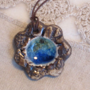 Primitive Design Pendant, Medallion style Natural Clay Ornament, Raku fired Pendant,