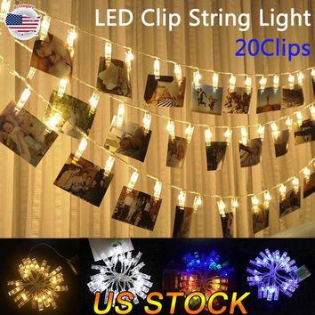 20 LED Photo Clip String Lights Battery USB Operated Hanging Photos For Party US