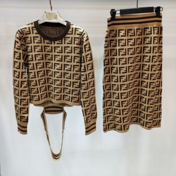 Fendi Women Long Sleeve Top Skirt Two-Piece