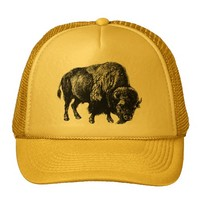 Buffalo American Bison Vintage Wood Engraving Trucker Hats